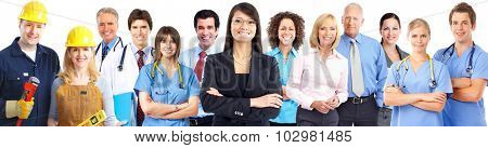 Group of workers people in uniform. Teamwork background