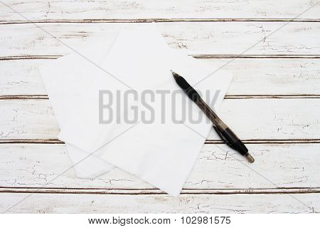 Blank Napkins With Pen For Your Message