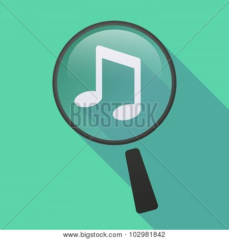 Long Shadow Magnifier Icon With A Note Music