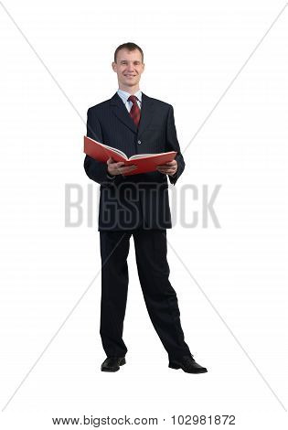 Businessman reading red book