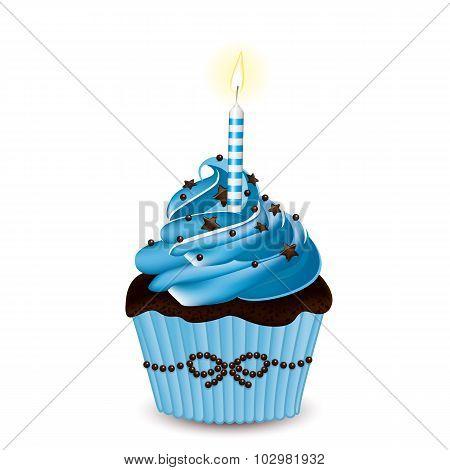 Blue Vector Cupcake