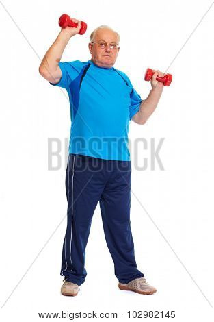 Elderly man with dumbbells isolated over white background.