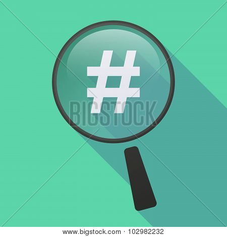 Long Shadow Magnifier Icon With A Hash Tag