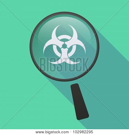 Long Shadow Magnifier Icon With A Biohazard Sign