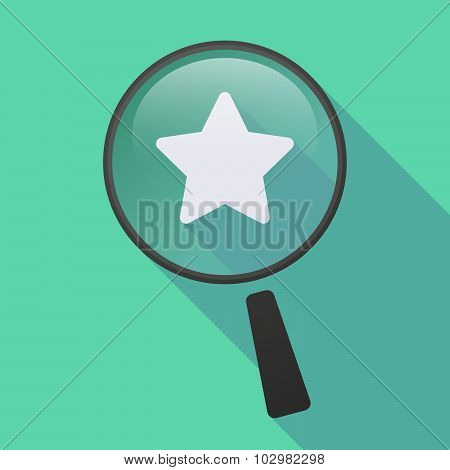Long Shadow Magnifier Icon With A Star