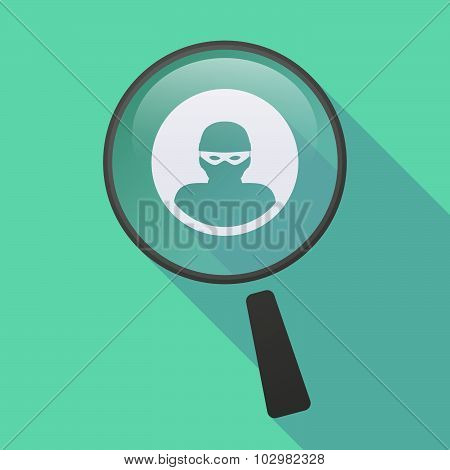 Long Shadow Magnifier Icon With A Thief