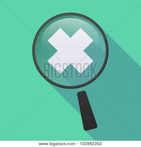 Long Shadow Magnifier Icon With An Irritating Substance Sign