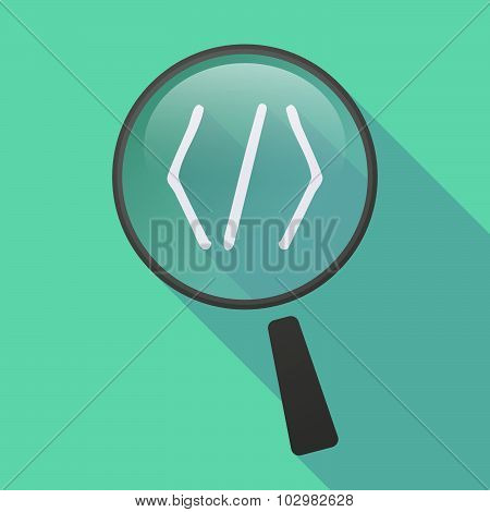 Long Shadow Magnifier Icon With A Code Sign