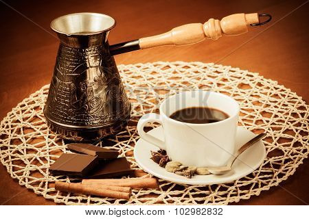 Coffee Pot, Cup Of Coffee With Spices And Pieces Of Chocolate. Vintage Style