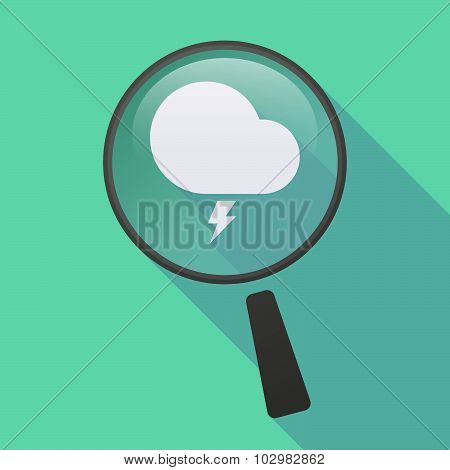 Long Shadow Magnifier Icon With A Stormy Cloud