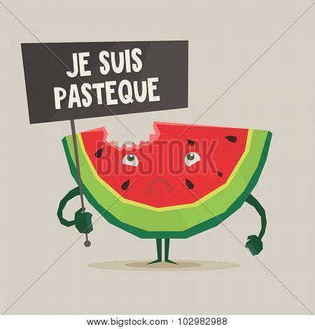 Vector colorful illustration of watermelon with