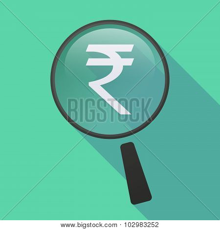 Long Shadow Magnifier Icon With A Rupee Sign