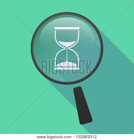 Long Shadow Magnifier Icon With A Sand Clock