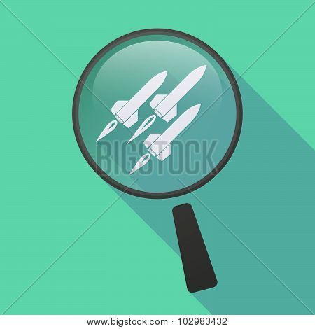 Long Shadow Magnifier Icon With Missiles