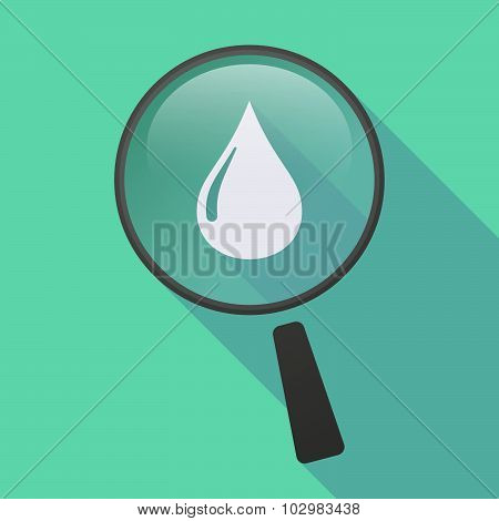 Long Shadow Magnifier Icon With A Fuel Drop