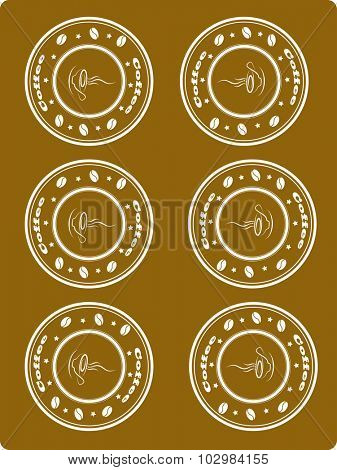 Brown background with stamp with coffee, vector