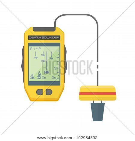 Vector Flat Style Yellow Fish Finder Sonar Illustration.
