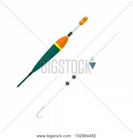 Vector Flat Style Float Hook Lead Illustration.