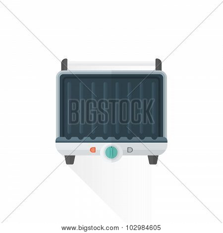 Vector Flat Style Metal White Kitchen Electric Grill Illustration.