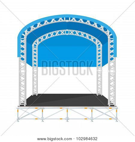 Color Flat Design Sectional Concert Metal Stage With Rounded Roof.