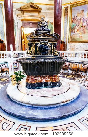 Rome, Italy - October 30: Lateran Baptistery Near Archbasilica Of St. John Lateran In Rome, Italy On