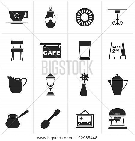 Black Cafe and coffee house icons