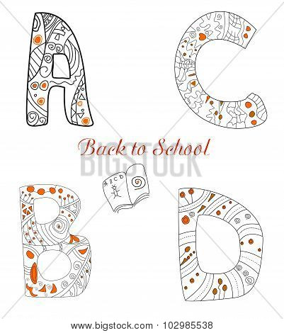 Letters Back to School vector illustrations