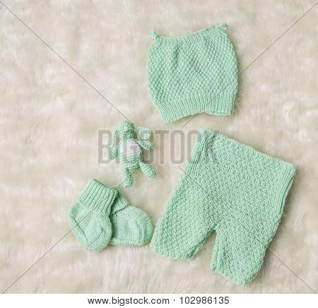 Newborn Baby Clothing, New Born Kids Hat Socks Booties On White