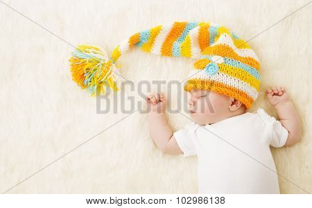 Baby Sleeping In Hat, New Born Kid Sleep In Bad, Newborn