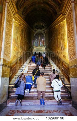 Rome, Italy - October 30: People Pray At Holy Stairs, Scala Santa, In Rome, Italy On October 30, 201