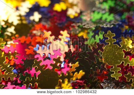 Celebratory Background Paper Snowflakes Multi-coloured. Macro