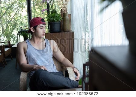 Man Sitting Waiting A Person In Coffee Cafe