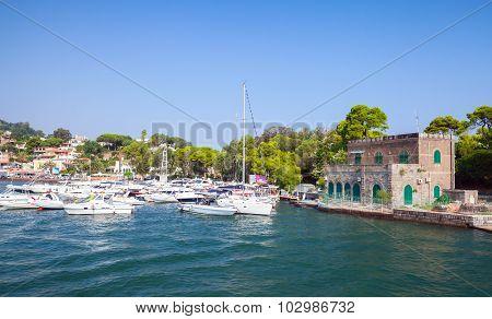 Coastal Landscape, Port Of Ischia Island. Italy