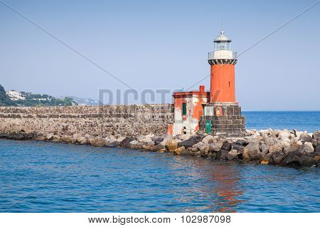 Red Lighthouse Tower, Entrance Of Ischia Porto