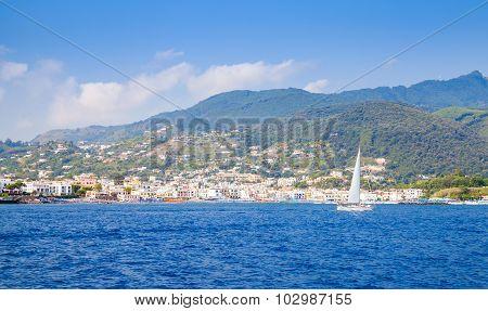 Landscape Of Ischia Island. Mediterranean Sea