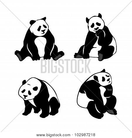 Set Of Stylized Panda Bears, Vector Silhouettes.