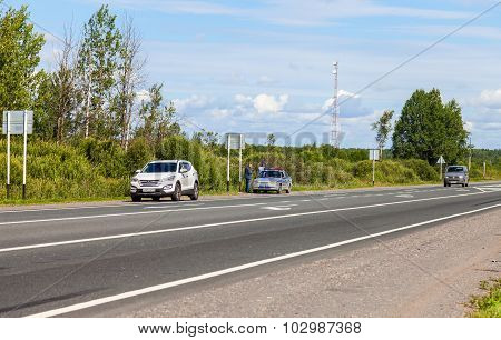 Russian Patrol Vehicle Of The State Automobile Inspectorate On The Highway
