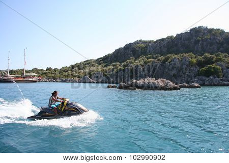Young Man on Jet Ski.