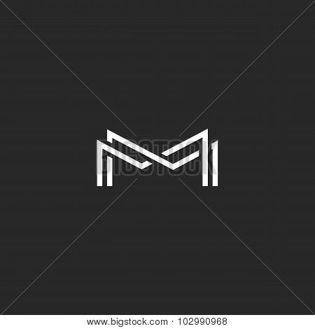 Letter M Monogram Logo, Overlapping Thin Line Black And White Design Elements, Template Wedding Invi
