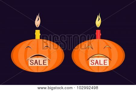 Halloween pumpkin with burning candle on his head and a tag
