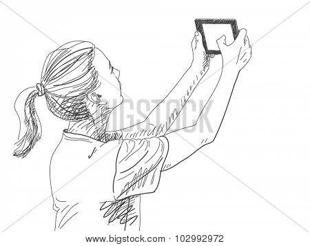 Woman taking selfie photo, Hand drawn illustration, Vector sketch
