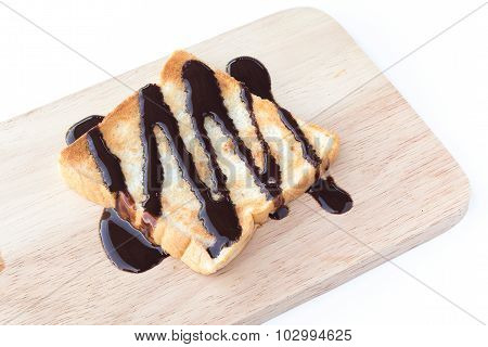 Delicious Toasts With Chocolate Syrup