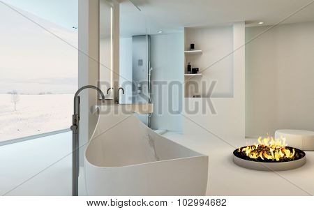 Modern Design Bathroom interior with unusual shaped bathtub, shower, a cozy warm fireplace and floor-to-ceiling window with a winter landscape view. 3d Rendering.
