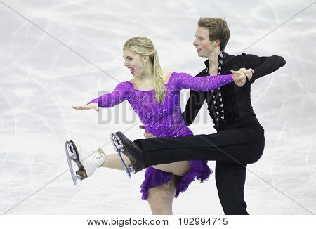 BARCELONA - DEC, 11: Mackenzie Bent Garrett Mackeen from Canada during Junior Pairs Ice Dance event of ISU Grand Prix of Figure Skating Final 2014 at CCIB on December 11, 2014 in Barcelona, Spain