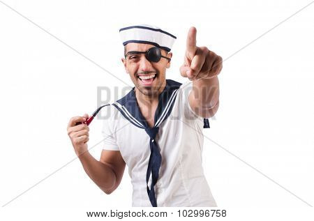 Sailor with smoking pipe isolated