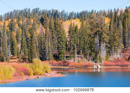 Blue glacial lake with fall colors