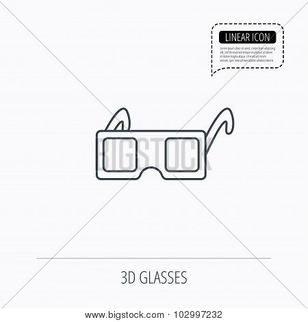 3D glasses icon. Cinema technology sign.