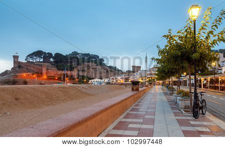 Tossa de Mar. Central embankment early morning.