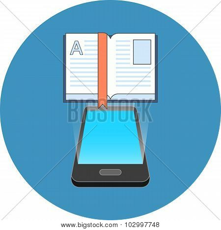 Smartphone E-book Reading Concept. Isometric Design.