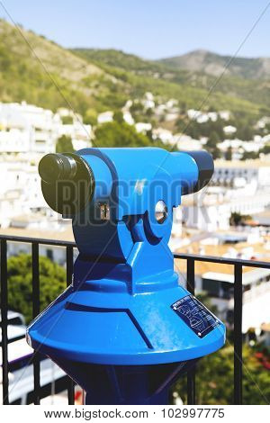 Blue Telescope In A White Village Of Andalusia, Spain.